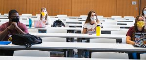 CMU students mask in classroom