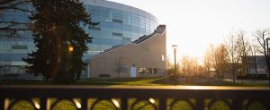Sun rises near Park Library at CMU