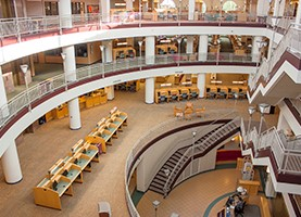 View of the Park Library atrium taken from the 4th floor